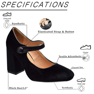 Xelay Womens Mary Jane Shoes Black High Chunky Block Heel Ankle Strap Smart Office Work Pumps Sizes 3-8