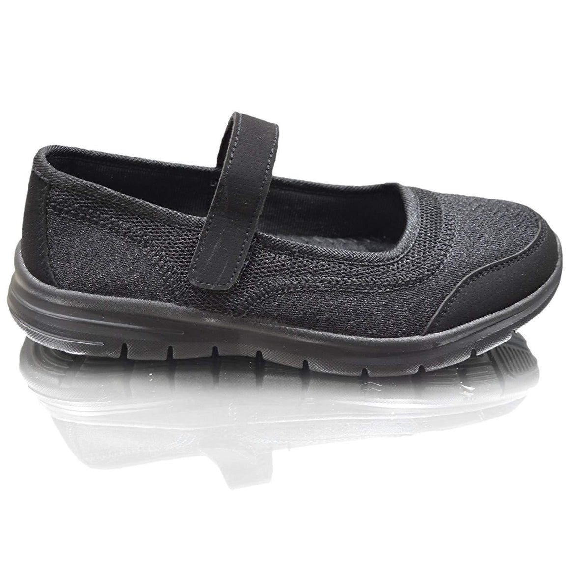 Womens Weight Less Air Tech Ladies Trainers Slip On Pumps Moccasins Girls Shoes Sizes (6 UK / 39 EU, Black Velcro)