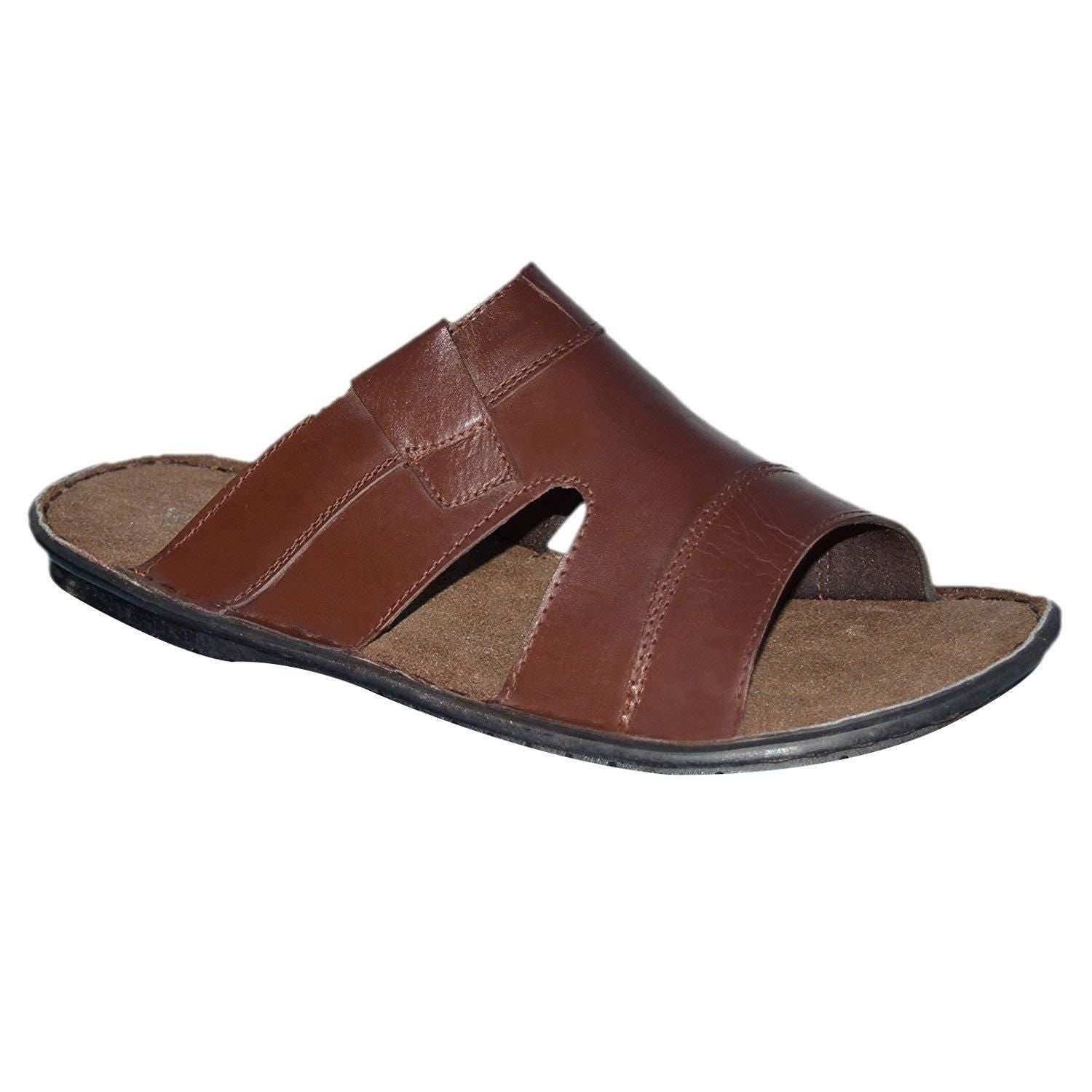 553814dee Mens Leather Comfort Mules Sandals Flip Flops Strappy
