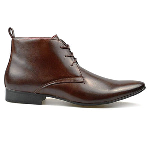 Mens Leather Lined Chelsea Pointed Toe Lace Up Ankle Boots