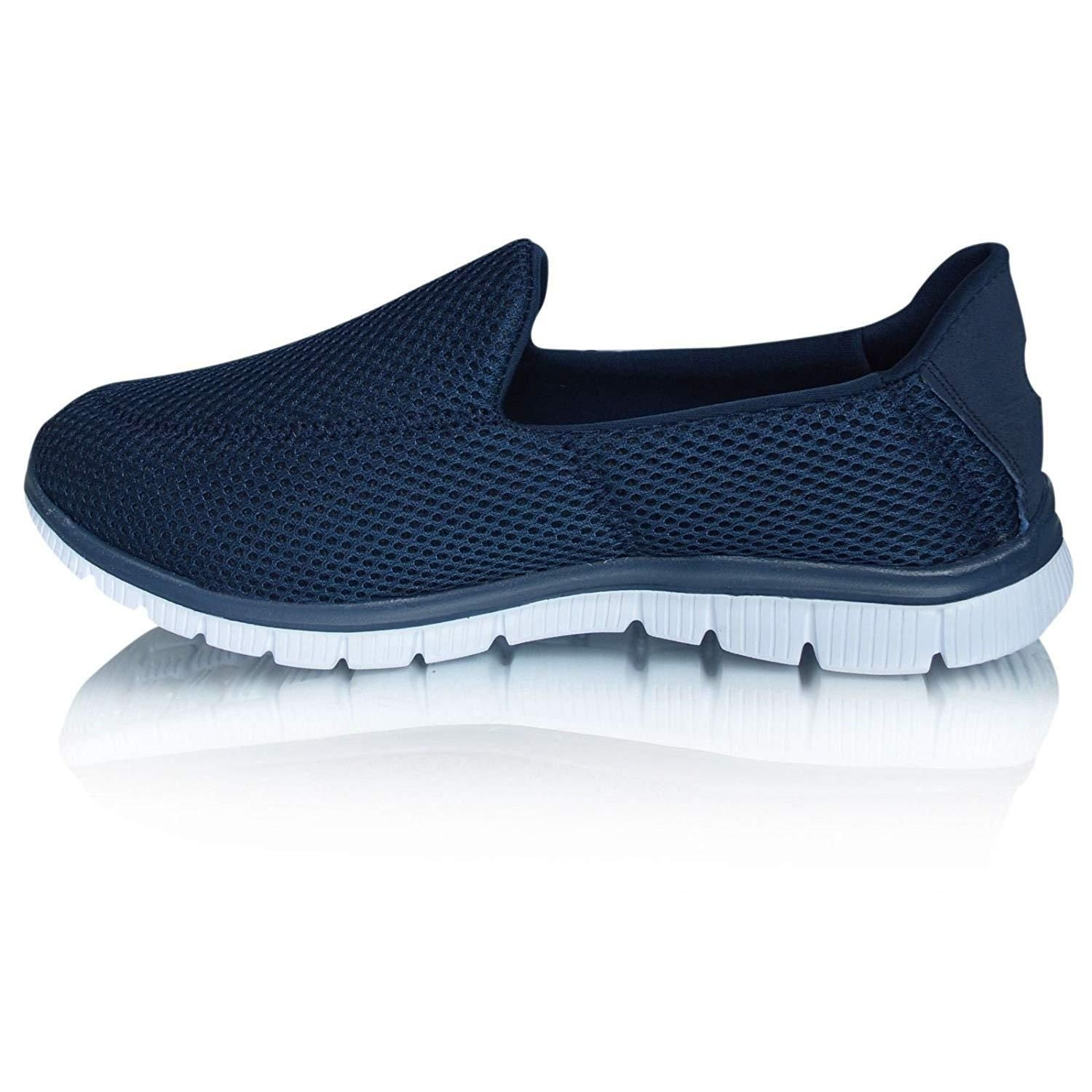 d86a7f1ce37a2e Men s Slip On Go Walk Lightweight Mesh Breathable Casual Trainers ...