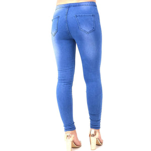 Womens Stretchy High Waisted Skinny Fit Jeans Knee Cut Blue