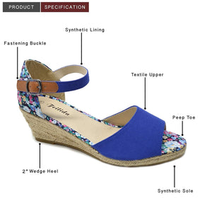 Xelay Womens Wedge Sandals Espadrille Ankle Strap Buckle Peep Toe Summer Shoes Size 3-8