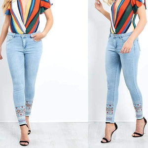 Womens Stretchy Mid Rise Skinny Fit Embroidered Blue Jeans