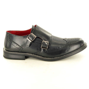 Mens Leather Office Dress Formal Monk Strap Brogues Shoes