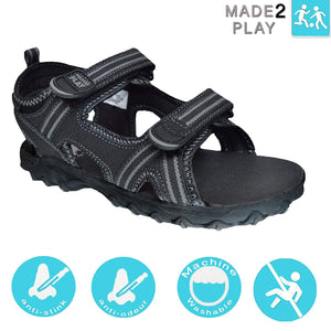 Xelay Boys Leather Black Sports and Outdoor Hook and Loop Summer Sandals Size Toddlers/Child UK 4 5 6 7 8 9 10 11 12 13