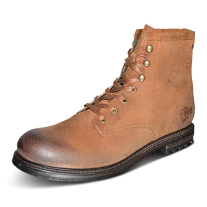 Mens Leather Biker Boots Brown Lace Up Military Cowboy Ankle Boots