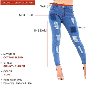 Womens Stretchy Mid Rise Skinny Fit Extreme Distressed Washed Jeans