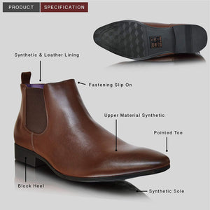 Mens Leather Lined Chelsea Casual Pointed Toe Ankle Boots