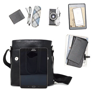 Xelay Smart Travel Leather Crossbody Messenger Bag Black