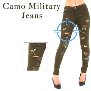 Womens Stretchy Mid Rise Skinny Fit Military Camo Ripped Jeans
