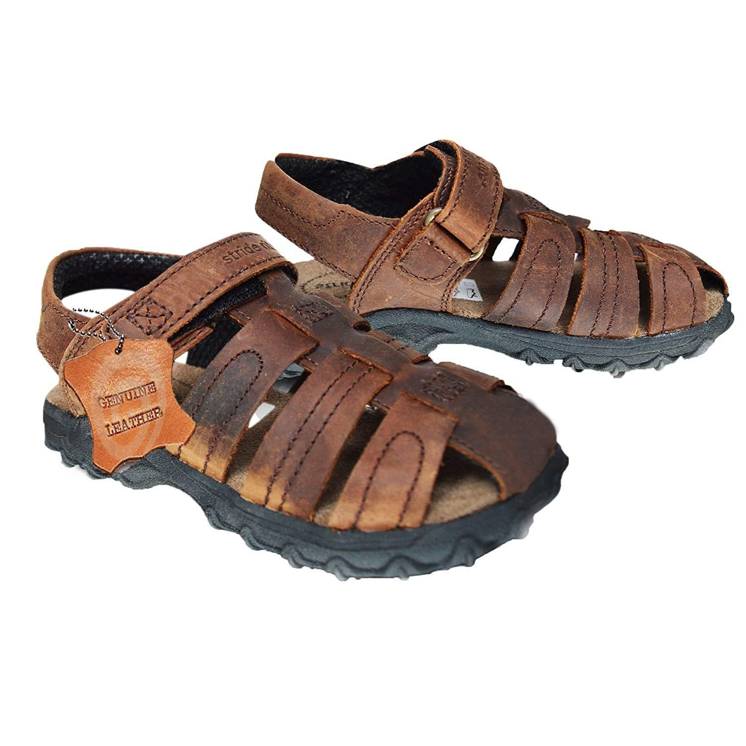 f1bd7b6a3ec7d Xelay Boys Leather Brown Fisherman Sports Summer Sandals Size Toddlers Child  UK 7 8 9