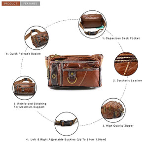 Xelay Smart Travel Leather Bum Bag with 6 Zipper Pockets Tan
