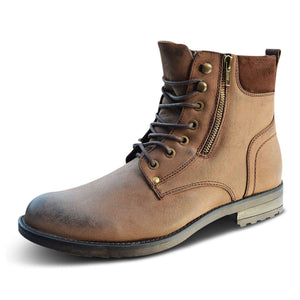 Mens Wide Fit Leather Military Biker Zip Up Boots