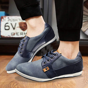 Mens Formal Two Tone Navy Denim Blue Casual Shoes