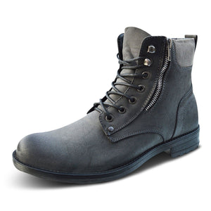 Xelay Mens Leather Military Zip Up Biker Ankle Boots
