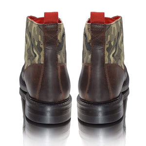 Mens Leather Biker Boots Camo Green Military Army Ankle Boots
