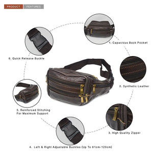 Xelay Smart Travel Leather Bum Bag with 6 Zipper Pockets Brown