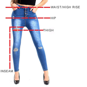 Womens Stretchy Super Skinny Ripped Jeans Faded Blue Denims