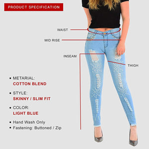 Womens Stretchy Mid Rise Skinny Ripped Jeans Studded Denims