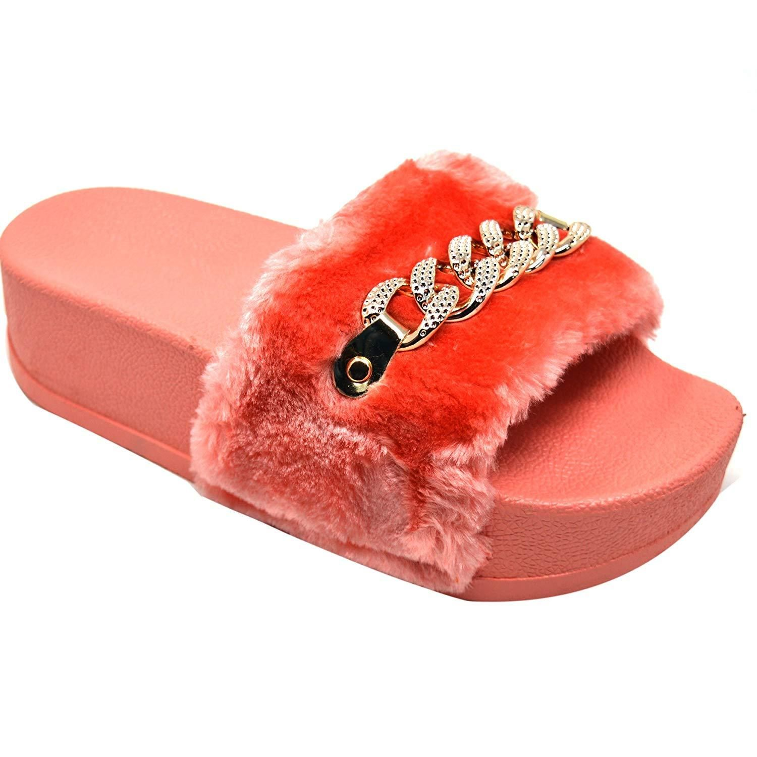 a61dfb70a4f929 Xelay Women s Coral Faux Fur Fashion Sliders Open Toe Slip On Indoor    Outdoor Sandals Mules