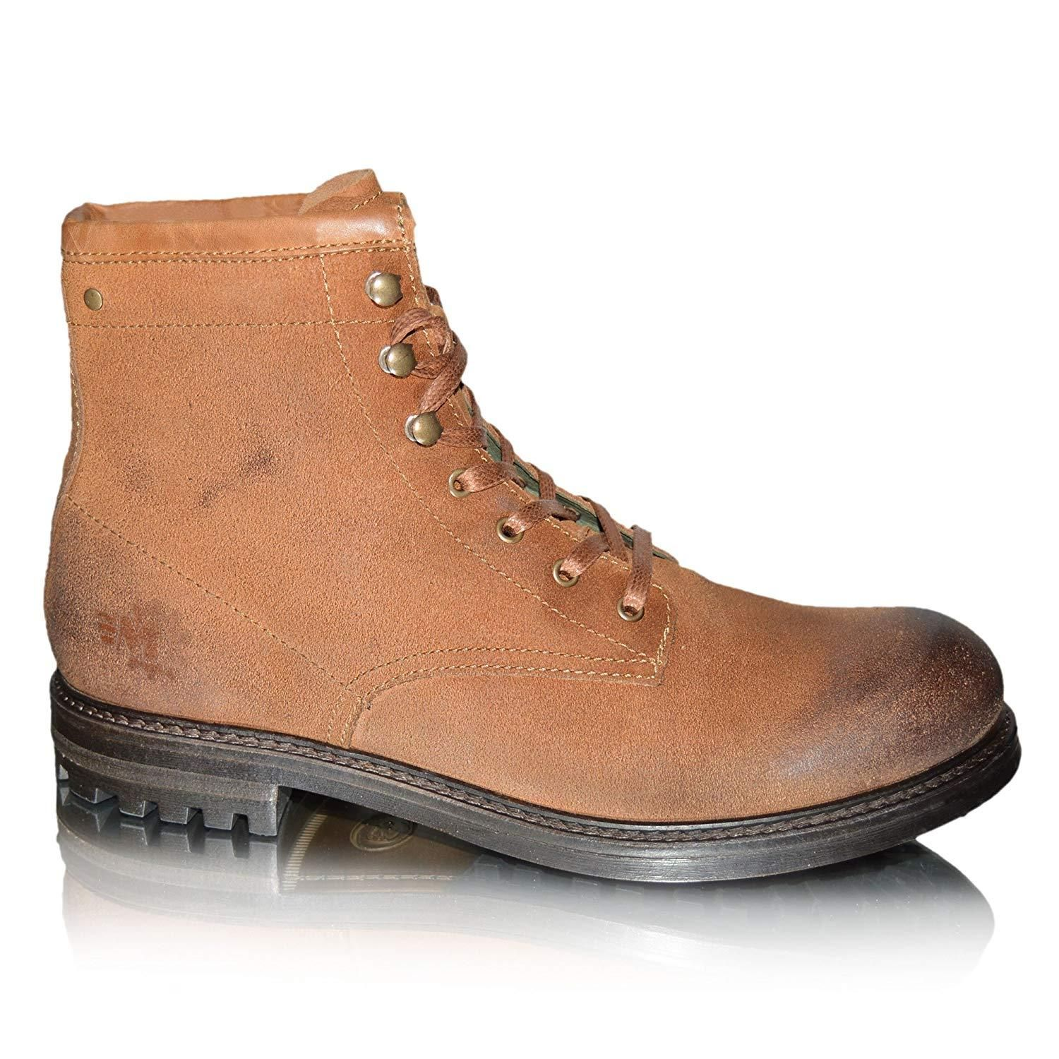 06724513598 Mens Leather Biker Boots Brown Lace Up Military Cowboy Ankle Boots