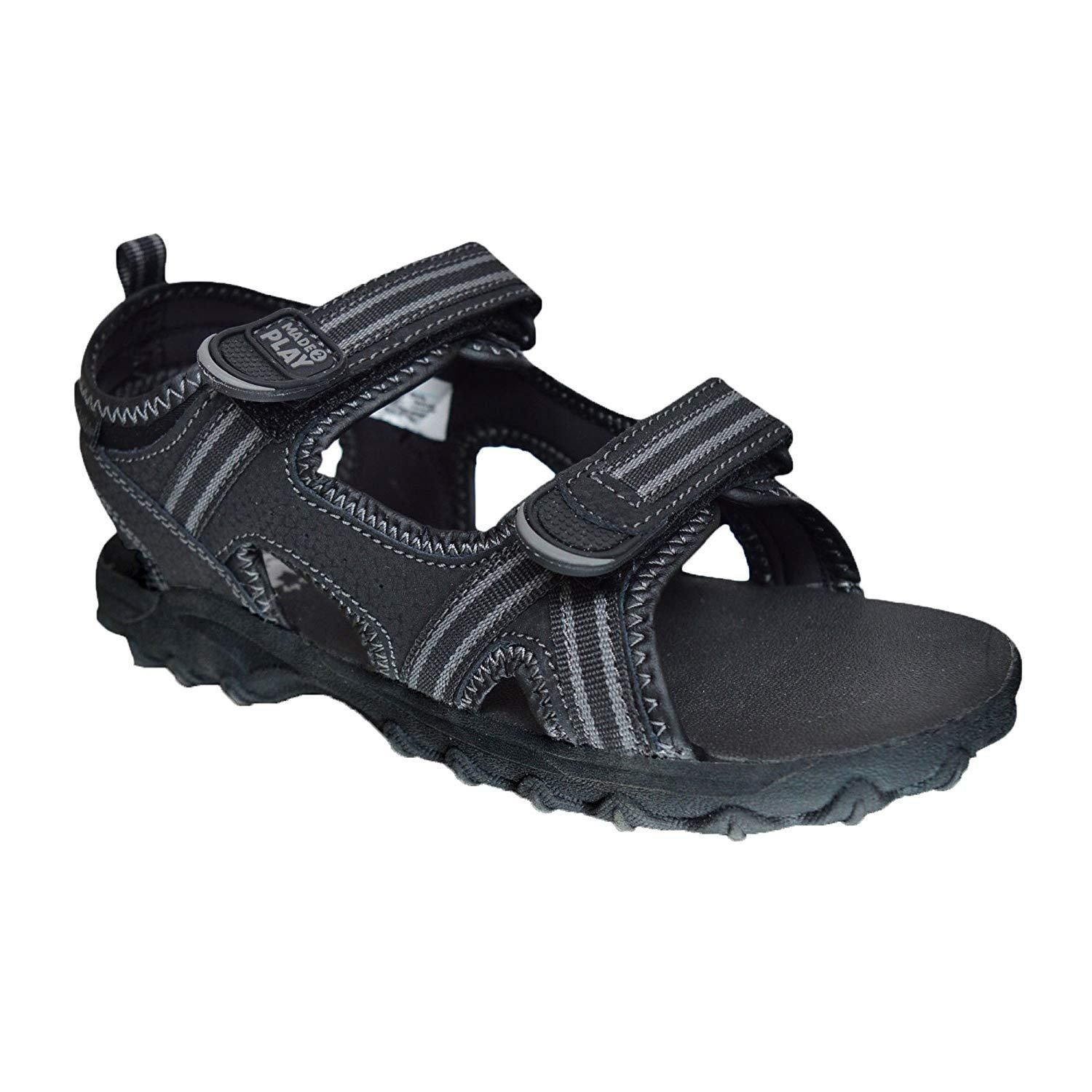 dfac104a890b4 Xelay Boys Leather Black Sports and Outdoor Hook and Loop Summer Sandals  Size Toddlers Child