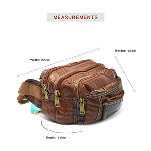 Xelay Travel Leather Bum Bag with 6 Zipper Pockets and Hook Tan