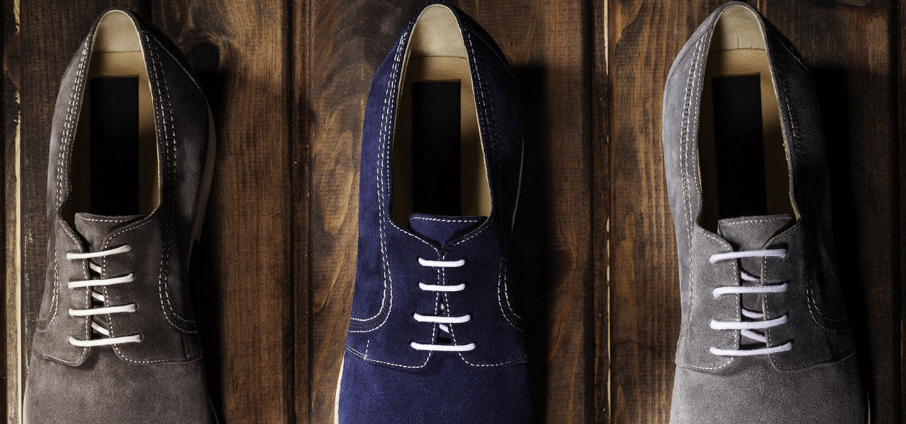 formal brogues with different colour laces