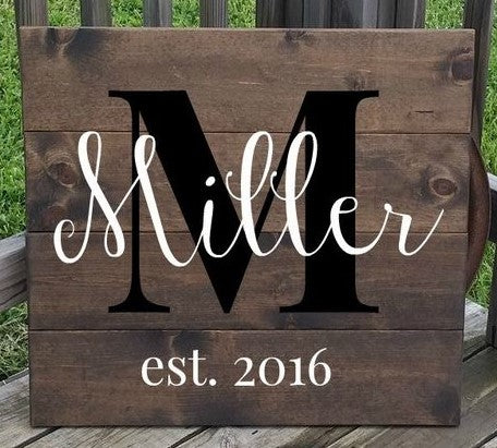"Date: TBD - Family Name Plank Sign 14"" x 19"""