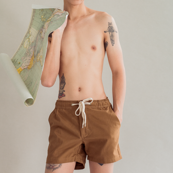 Summer Drawstring Short Shorts Khaki Brown