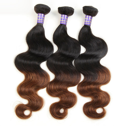 3 Bundles of Black To Medium Brown Body Wave Human Hair Weave