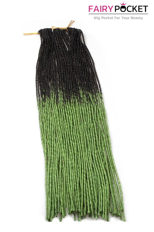 3 Bundles of Black To Apple Green Synthetic Twist Braids