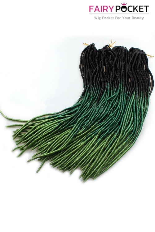 3 Bundles of Black To Emerald To Apple Green Synthetic Braids Twist