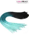 3 Bundles of Black To Emerald To Mint Green Synthetic Braids Twist
