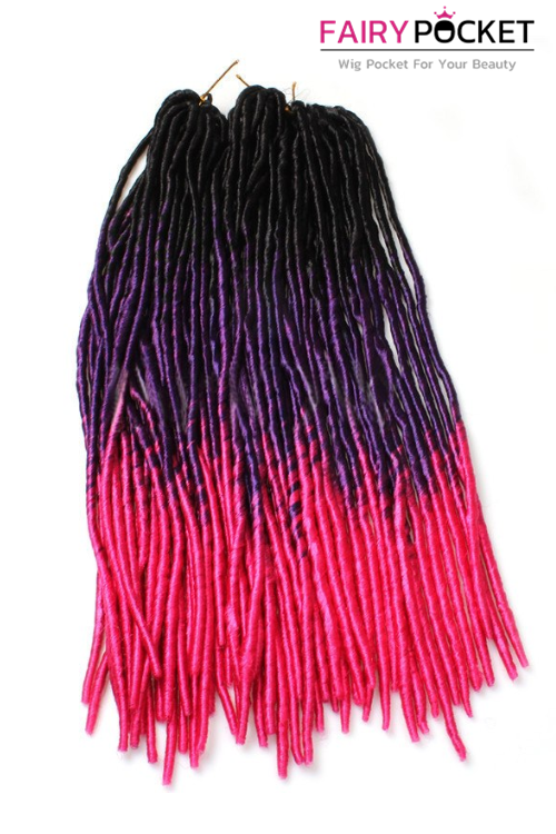 3 Bundles of Black To Grape Purple To Rose Red Synthetic Twist Braids