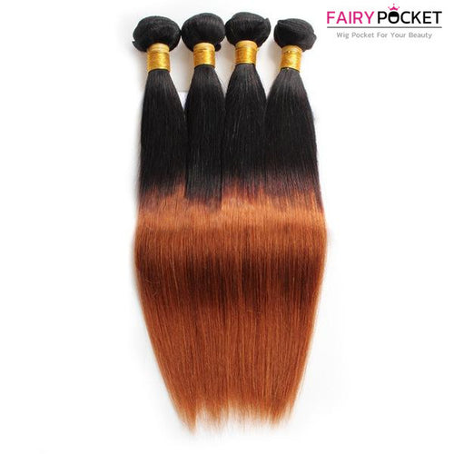 3 Bundles of Black To Light Auburn Srtaight Human Hair Weave