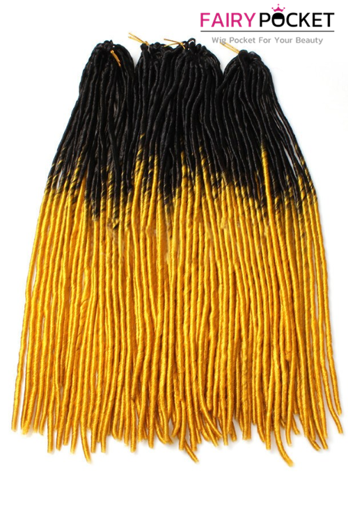 3 Bundles of Black To Mango Yellow Synthetic Twist Braids
