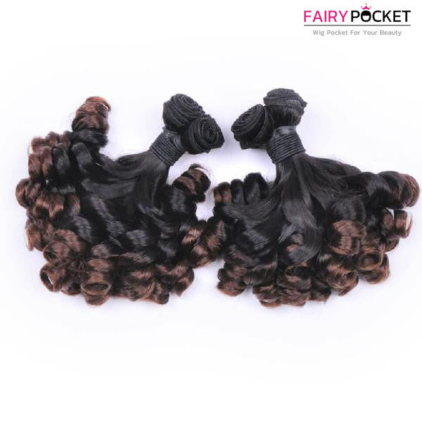 3 Bundles of Black To Medium Brown Straight And Bifurcation Loose Weave Human Funmi Hair Weave