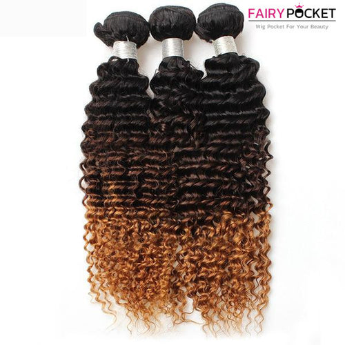 3 Bundles of Black To Medium Brown To Strawberry Blonde Kinky Curly Human Hair Weave