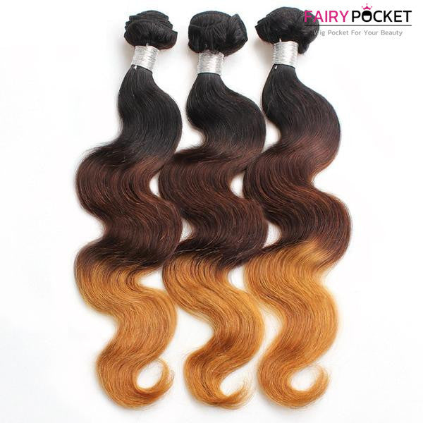 3 Bundles of Black To Medium Brown To Strawberry Blonde Wavy Human Hair Weave