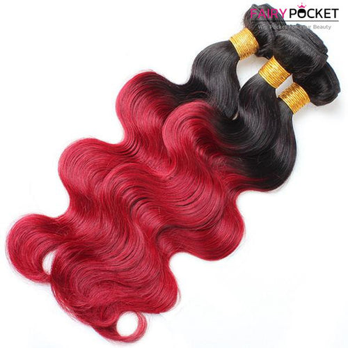 3 Bundles of Black To Red Body Wave Human Hair Weave