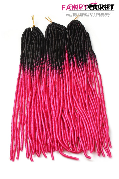 3 Bundles of Black To Rose Red Synthetic Twist Braids