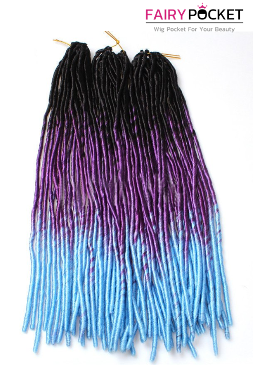 3 Bundles of Black To Purple To Fluorescence Blue Synthetic Twist Braids