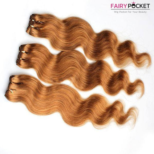 3 Bundles of Chestnut Brown Curly Human Hair Weave