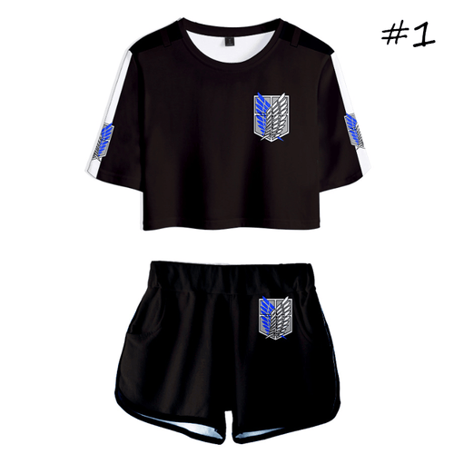 Attack on Titan T-Shirt and Shorts Suits (5 Colors) - B