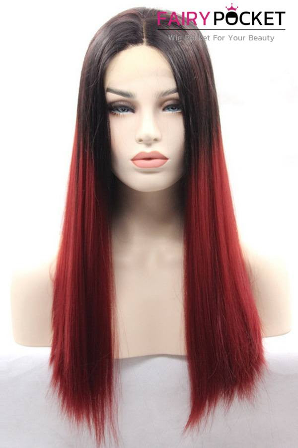Black to Brown Ombre Long Straight Lace Front Wig