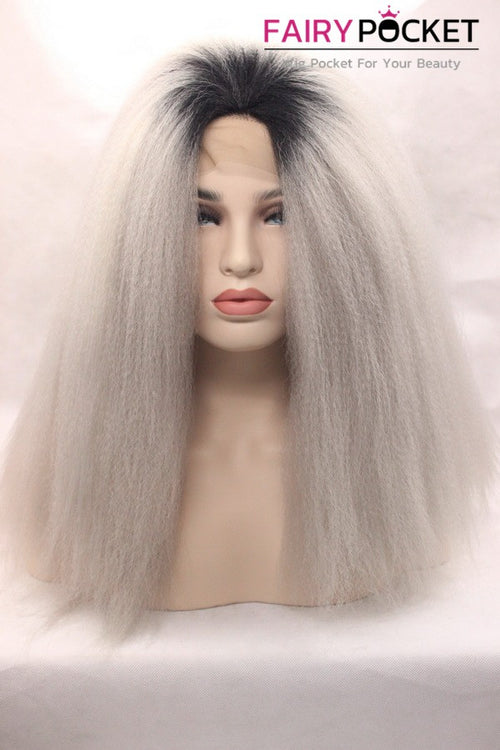 Black And Grey Ombre Long Straight Lace Front Wig