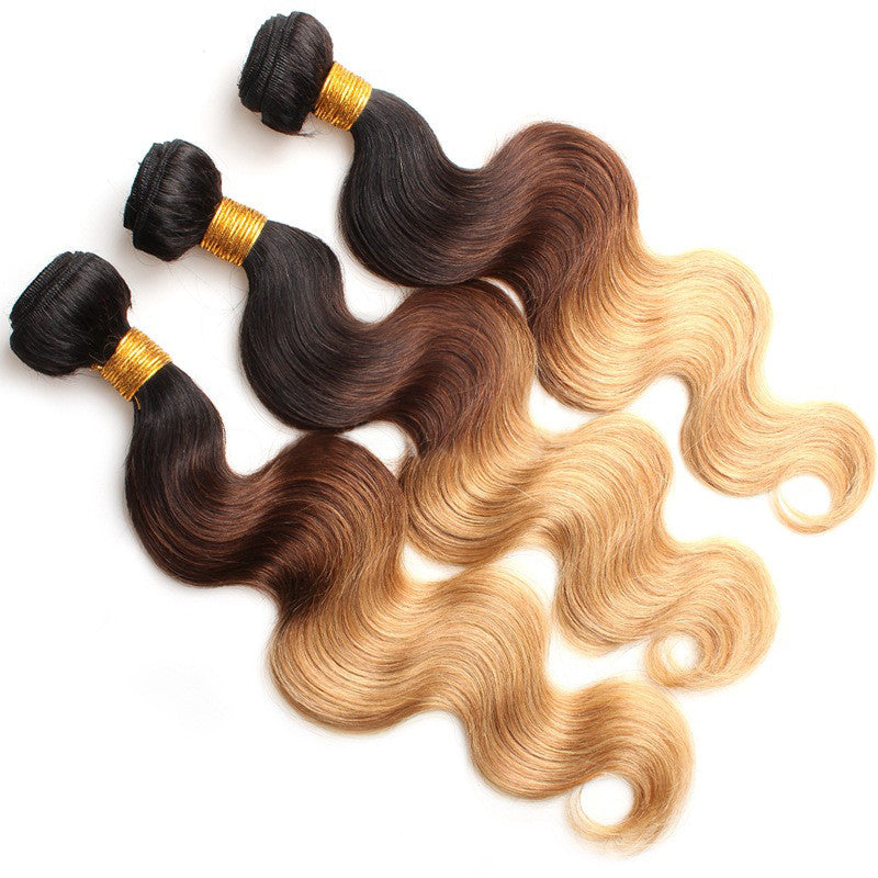 3 Bundles of Black To Medium Brown To Blonde Body Wave 5A Human Hair Weave