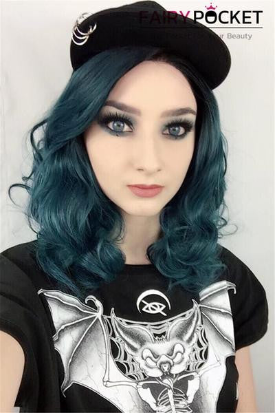 Black To Peacock Green Wavy Synthetic Lace Front Wig